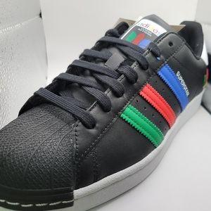 Adidas Originals Superstar Black Green Blue Red